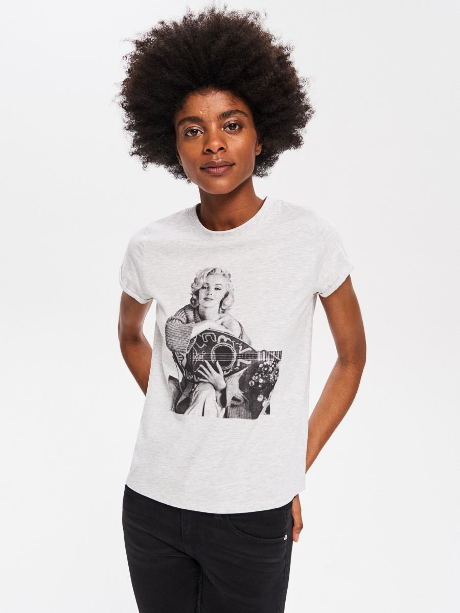 64ea179a117624 T-shirt Marilyn Monroe - szary - VV177-09M - RESERVED - 1