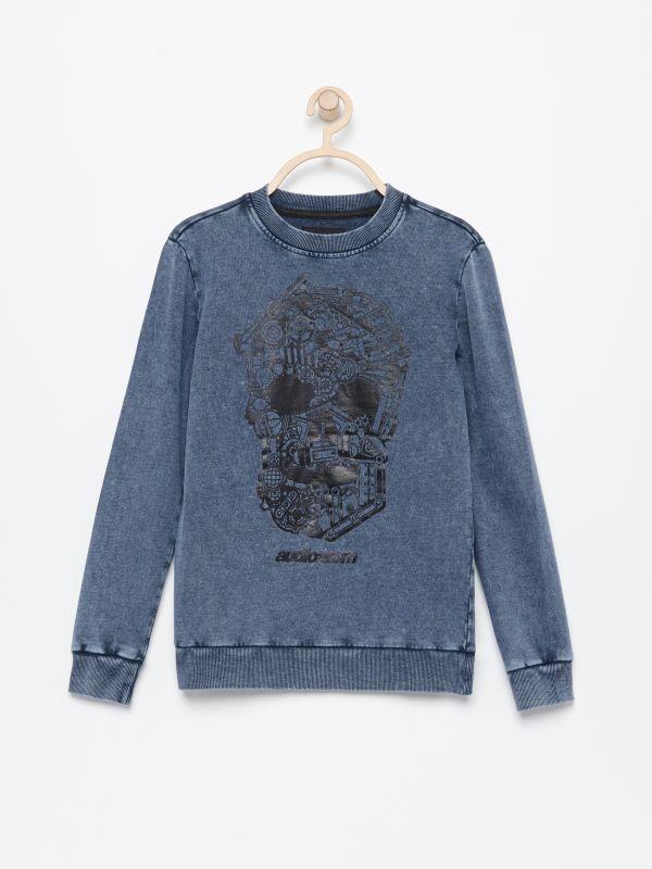 c71b62229e756d Bluza w dinozaury · Bluza ze spranej bawełny - niebieski - UT015-50X -  RESERVED