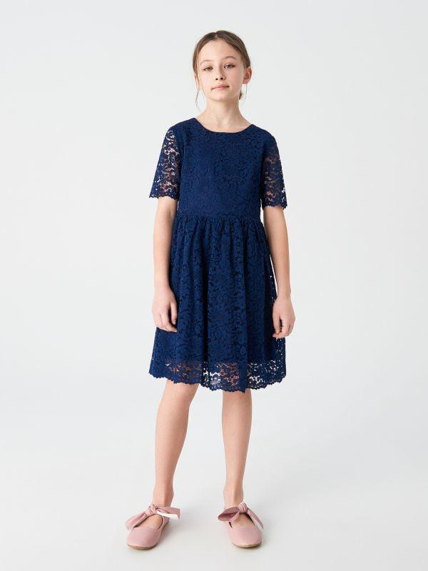 577d03b2fc 4 Koronkowa sukienka z krótkim rękawem - granatowy - VG274-59X - RESERVED