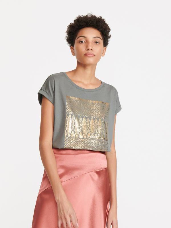 3183f1744594f T-Shirt mit aufschrift · T-Shirt mit Print - grün - WU133-70X - RESERVED