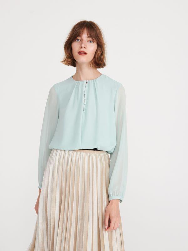 c56265e09c155 Bluse mit Millefleurs-Alloverdruck · Bluse mit Knöpfen - grün - XJ365-07X -  RESERVED